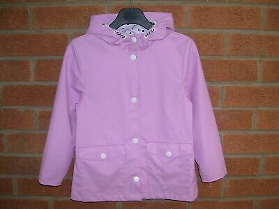 GEORGE Girls Lilac Waterproof Rain Coat Hooded Jacket Age 5-6 116cm Immaculate