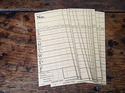 10 Vintage   Clocking In Cards National Time Recorder Co Ltd Form 212   Unused.