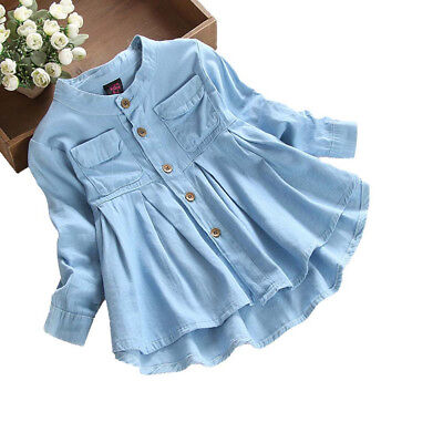 Kids Baby Girl's Long Sleeve Blouse Denim Ruched T-Shirt Tops Shirts Clothes O1