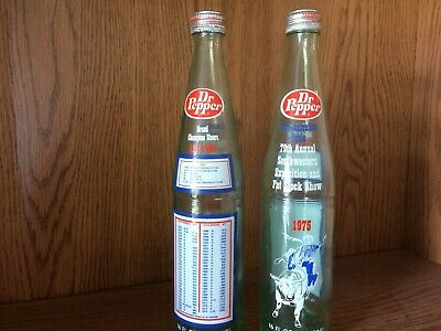 1975 Dr Pepper Commemorative Bottle 79Th Annual ( Ft Worth ) Sw Fat Stock Show