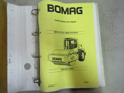 Bomag BW 213 D-3, BW 213 PD-3 Vibrator Roller Instructions Repair Service Manual