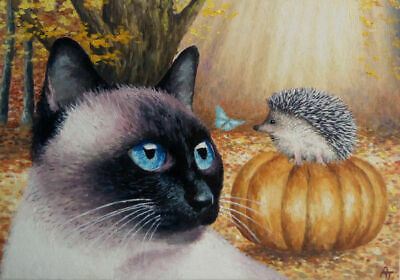 ACEO Art Card * Original Oil Painting ' Cat, Hedgehog, Butterfly
