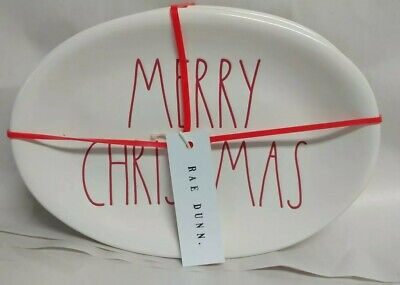"New Rae Dunn by Magenta L/L ""MERRY CHRISTMAS"" Oval Plates Set of 4 Red Letters"