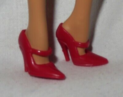 HS~ SHOES BARBIE DOLL MODEL MUSE RED HOLIDAY STRAPPY PEEP TOE SANDALS HIGH HEELS