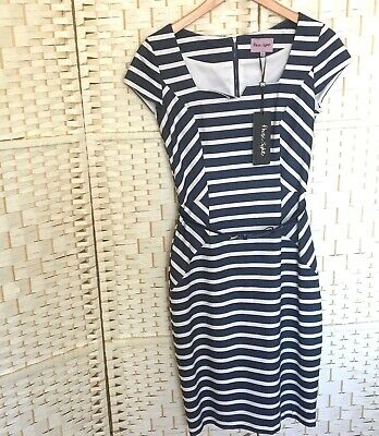 BNWT Phase Eight Jude Striped Size 8 Dress With Belt Figure Hugging Soft Lined