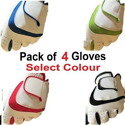 4 FULL 100%  LEATHER Golf Gloves Glove Mens/Ladies RIght/Lt Hand Red,Green,Blue