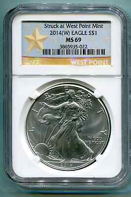 NGC MS 69 2012 W Early Releases American Silver Eagle One Dollar West Point