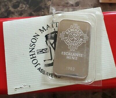 1982 Johnson Matthey Ranchers Exploration Escalante Mine 1oz .999 Silver Bar