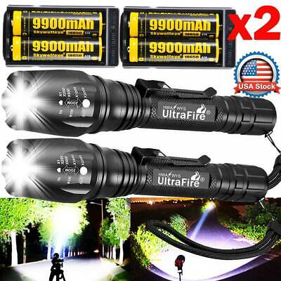 Police Tactical 350000Lumens 5Modes T6 LED 18650 Flashlight Aluminum Zoom Torch