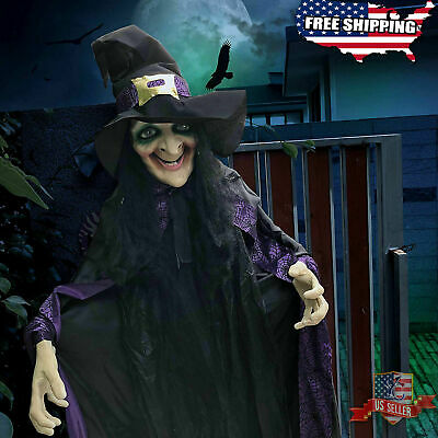 """74"""" Life Size Animated Witch with LED Eyes & Spooky Sounds Halloween Decorations"""