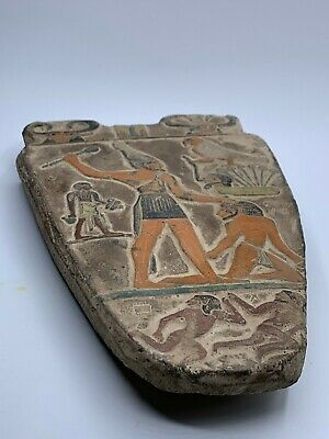 RARE EGYPTIAN ANTIQUES EGYPT STELA RELIEF Palette of King Narmer Carved STONE BC