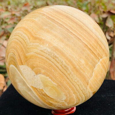 4.02LB Natural Yellow jade Massage Ball Crystal quartz Sphere Healing A476