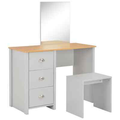 vidaXL Dressing Table with Mirror and Stool Grey 104x45x131cm Makeup Jewelry