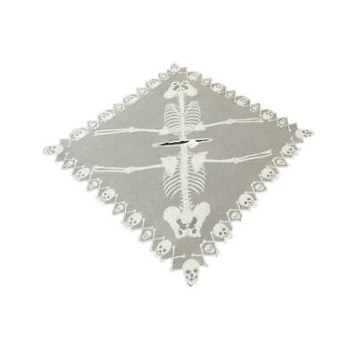 HERITAGE LACE SILVER AND BLACK SKELETON// SKULLS HALLOWEEN CAPE//PONCHO ITEM A1