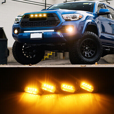 Smoked Lens Grille Amber Lights Kit For Toyota Tacoma w/TRD Pro Grill 2016-2020