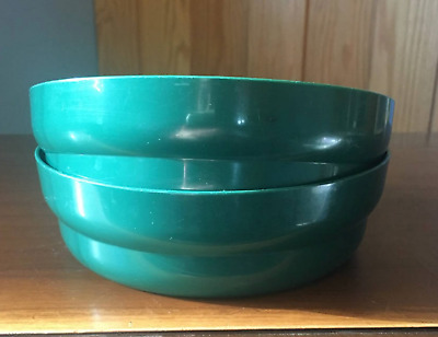 Tupperware Microwave Safe Cereal Bowls 2 pc Set Impressions Hunter Green New
