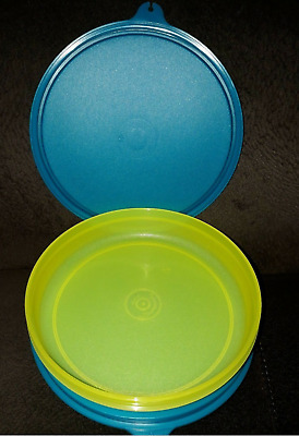 Tupperware Wonders 1 cup Bowls Set of 2 Lime Green Bases & Blue Seals New