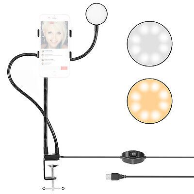 Neewer Clamp-on Live Broadcast USB LED Selfie Ring Light with Cell Phone Holder