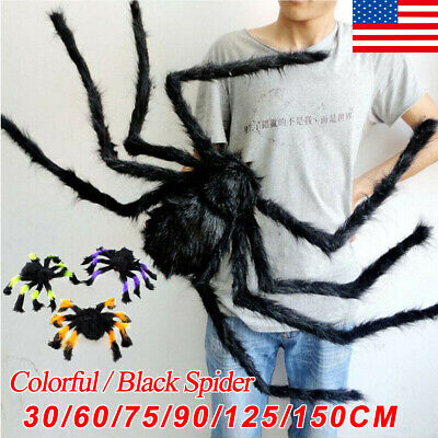 US Halloween Hanging Decor Giant Realistic Hairy Big Small SPIDERS Decoration 6