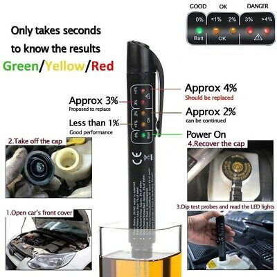 Car Brake Fluids Tester Compact Indicator LED Pen Moisture Water For DOT3 & DOT4