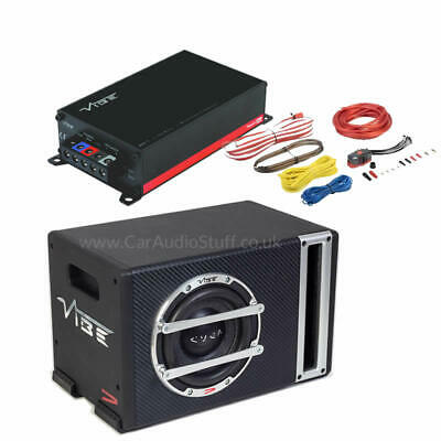 "Powerbox Compact 6"" Subwoofer Sub and Micro Amp Bundle with Wiring Kit"