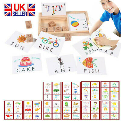 Baby 3-in-1 Wooden Spelling Learning Game English Spelling Words Enlightenment