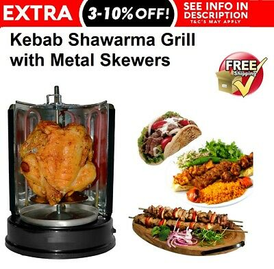 Kebab Meat Grill Rotisserie BBQ Steak 1500W Stainless Steel Electric 7 Skewers