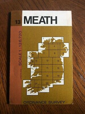 Vintage 1974 Meath Ordnance Survey 1/2 inch Map Sheet 13 Ireland
