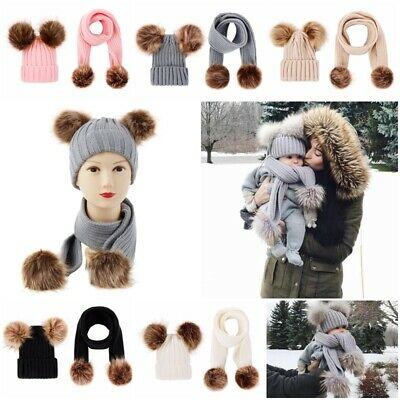 Boy Girl Toddler Baby Winter Warm Knitted Scarf Hair Ball Pom Pom Hat Scarf Set