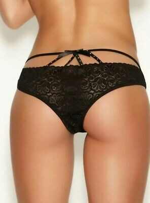Rrp £10 Ann Summers Daze Crotchless Black Briefs Knickers Size Med 12-14