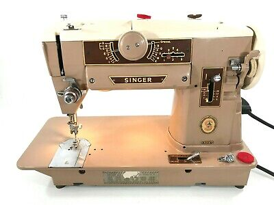 Vintage Singer 401A Slant-O-Matic Heavy Duty Sewing Machine 1950s Tested Works