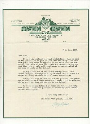 Guernsey 1945 Liberation From Occupation - Letter From Wigan Fruit Market