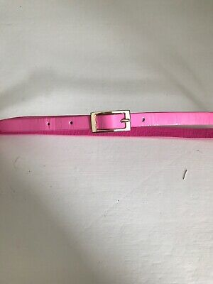 """Girls Pink Skinny Patent Leather With Gold Buckle belt 23"""" - 24"""" EU 60"""