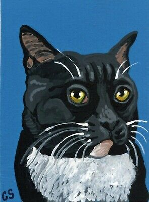 ACEO ATC Original Miniature Painting Tuxedo Black White Cat Pet Art -Carla Smale