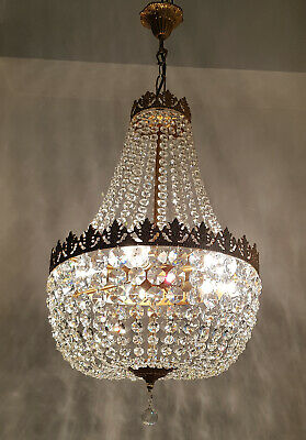 Antique Vintage Brass & Crystals LARGE French Empire Chandelier Lighting Lamp