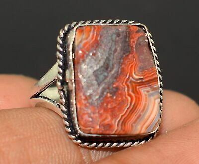 Lace Agate Gemstone 925 Sterling Silver Plated 1 Pcs Ring MK10-484