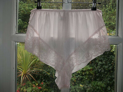 Vintage 1970s St Michael Slippery Sheer Nylon Scalloped Lacy Panty Knickers M/L