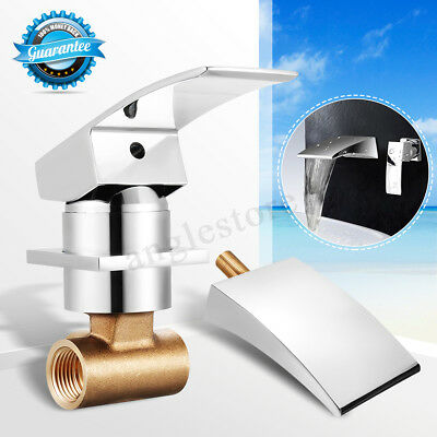 Wall Mount Waterfall Bathroom Sink Spray Faucet Home Bathtub Tub Brass Mixer Tap