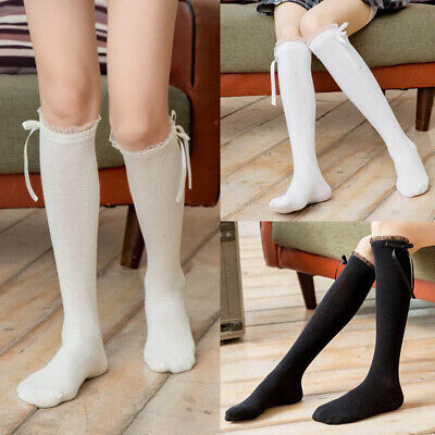 Kids Toddlers Girls Socks Bow Knee High Long Cotton School Stockings Hosiery