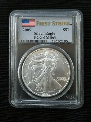 2005 PCGS MS69 Silver American Eagle First Strike Flag Label