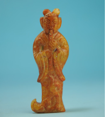 Collection chinese old jade Handwork ancients Statue antique amulet pendant 0206