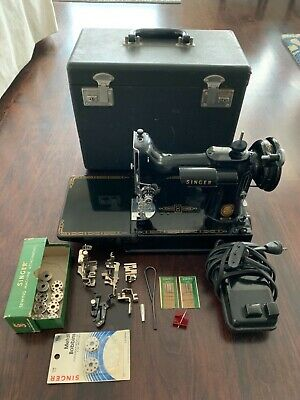 Vintage Singer Featherweight 221 Sewing Machine 195W/ Case, Pedal, Accessories
