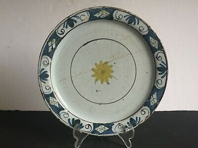 Antique Hand Painted 18th Century English Delft Faience Earthenware Plate AS IS