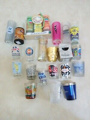 Lot of 20 printed shot glasses assorted for whisky vodka tequila...