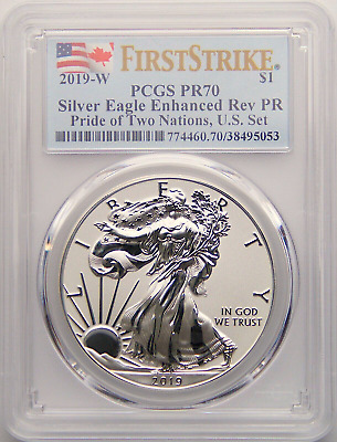 2019 W $1 Enhanced Reverse Pro0F Silver Eagle Pcgs Pf70 Fs Pride Of Two Nations