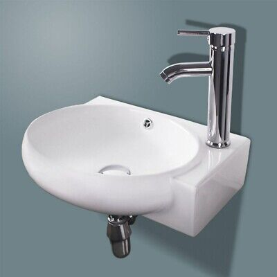 Oval Bathroom Ceramic Vessel Sink White Porcelain Corner Wall Mounted w/ Faucet
