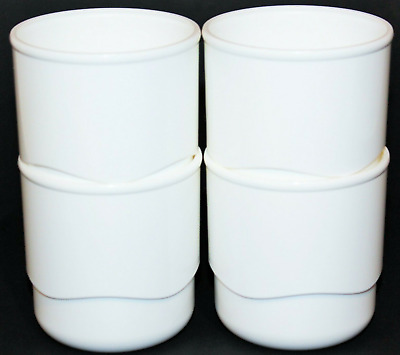 Tupperware Tabletop Tumblers or Snack Cups Set of 4 in White Wavy Base Brand New
