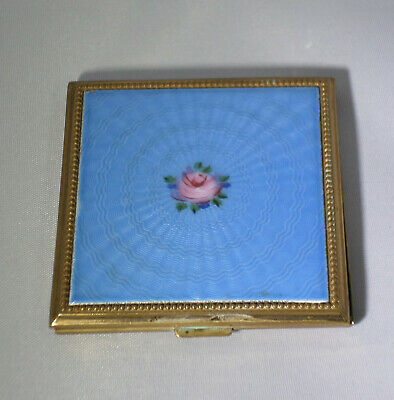 Vintage Evans Enameled and Hand Painted Guilloche Powder Compact w/Rose