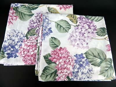 Vintage Pair (2) Percale Pink Purple Hydrangea Floral King Pillowcases
