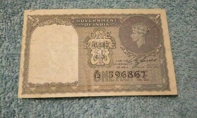 Rare! Old! 1940 Ww2 One Rupee King George Sixth Banknote!